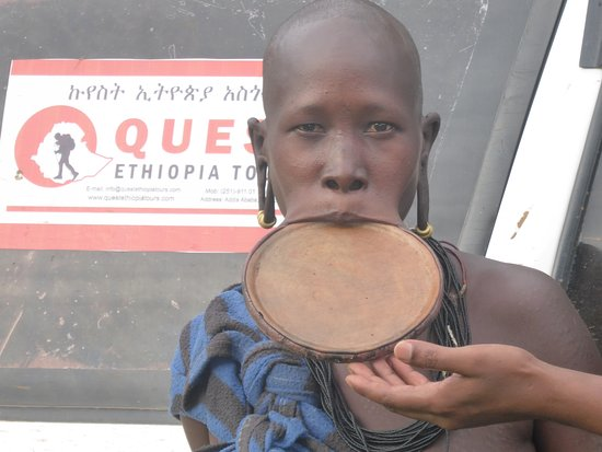 Surma woman from the western Omo Valley, visited with Quest Ethiopia Tours.