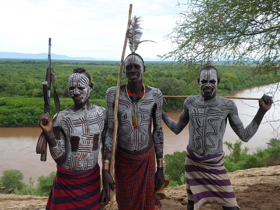 Karo Tribe with characteristic body painting, visited with Quest Ethiopia Tours.