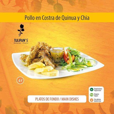 POLLO EN COSTRA DE QUINUA Y CHIA  Escalopas de pollo marinados en maracuyá, huevo, quinua y chía; rociado con salsa de maracuyá.
