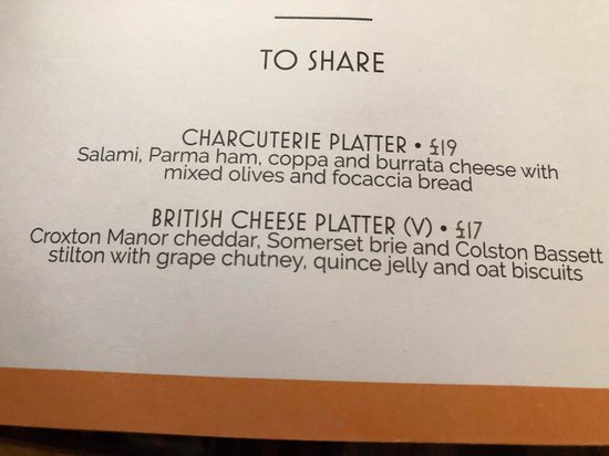 Strand Palace: See main review - room service menu - cheese plate for £17