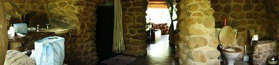 Mkhaya Game Reserve, Eswatini (Swaziland): The bathroom - panoramic photo from outside.