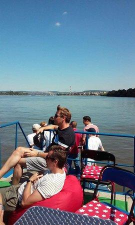 Belgrade cruising Danube and Sava river/blue boat