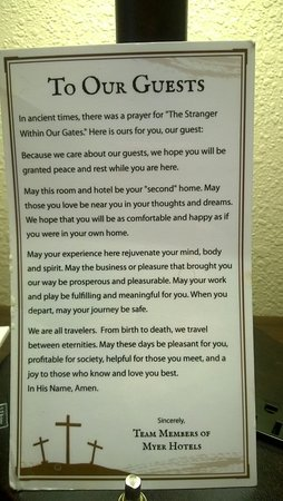 Best Western Music Capital Inn: It was so nice to see this Traveler's Prayer next to the open Bible when we entered our room.