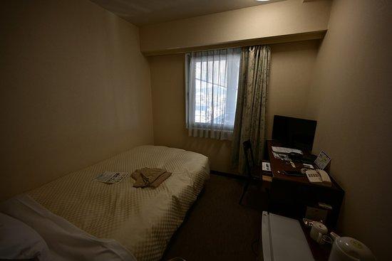 Royal Hotel Odate: 部屋は狭く暗い(なぜ暗い?)