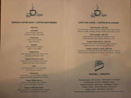 Bahia Principe Luxury Ambar: Coffee Shop menu