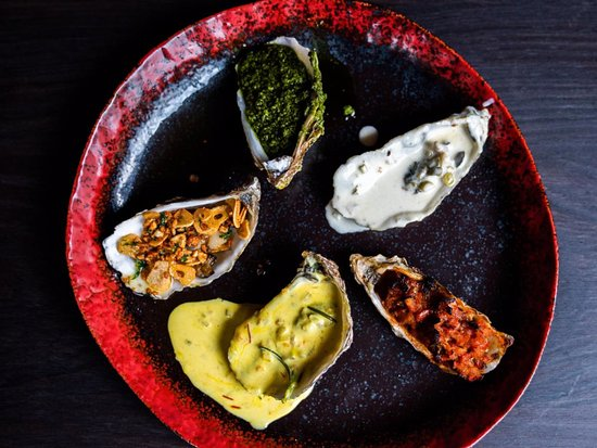 Raw / Cooked Oysters  5pcs @100.00 / 120.00 Choose your sauce: Pesto, Garlic Butter, Saffron, Lemon Cream or Oriental