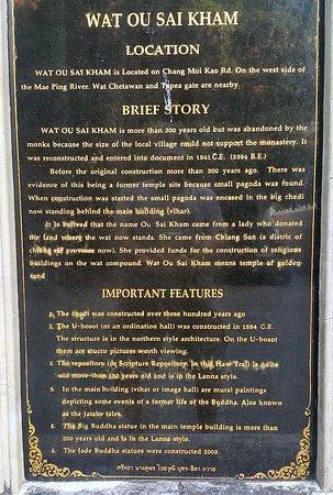 Useful history of Wat Ou Sai Kham in English