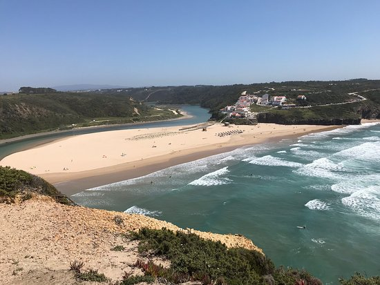 A picturesque beach, popular with surfers