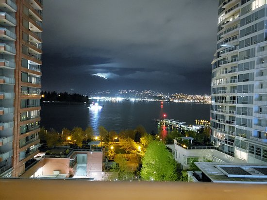 View from our 7th floor balcony at the Pinnacle Hotel Vancouver Harbourfront