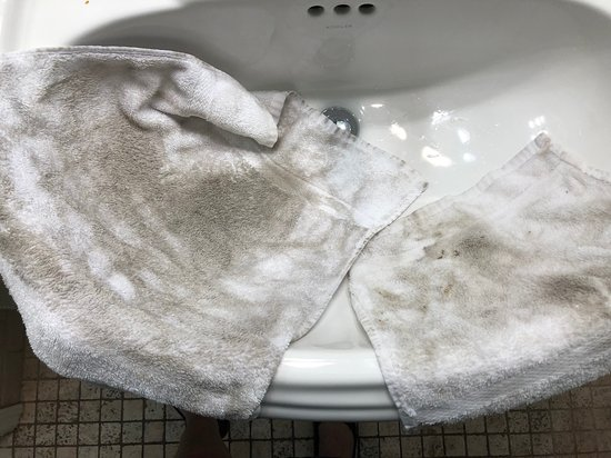 Towels after wiping the bathroom floor.