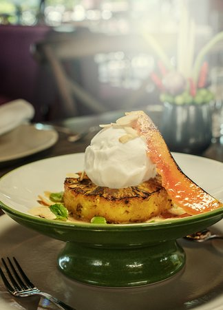 Caramelized Pineapple with coconut ice-cream