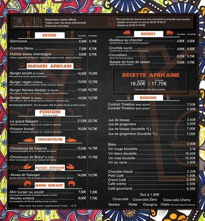 Nouvelle carte du restaurant