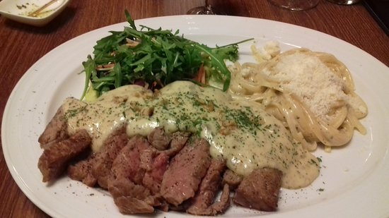Antichi Sapori: perfectly cooked steak and creamy, luscious sauce on top of perfect al dente pasta