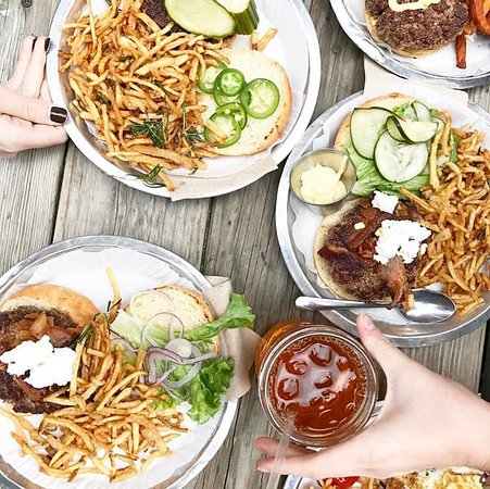 Bull City Burger and Brewery: Burgers and fries