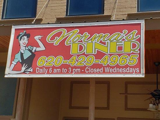 Columbus, KS: Norma's Diner sign.