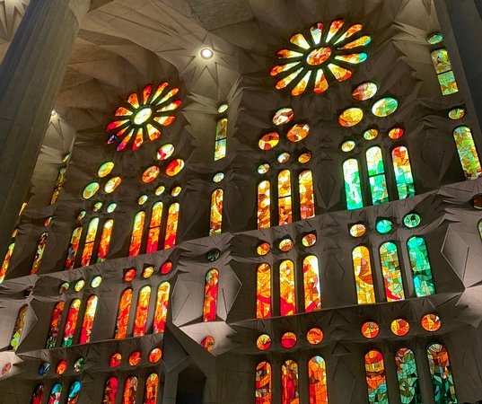 Basilica of the Sagrada Familia Admission Ticket with Tower Access: One set of many stained glass windows