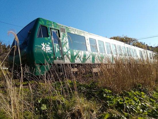 Fukaura-machi, Japón: 「日本一乗りたいローカル線」と謳っている五能線を走る《 リゾートしらかみ》は、リゾート列車の先駆者的存在。 3編成「橅(ブナ)」「くまげら」「青池」 津軽三味線や語り部などのおもてなしがある。 弘前発の6号は、おもてなしが無い替わりに日本海の夕日が見れる 2回乗る事をお勧めします