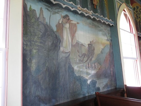 One of the many murals on the walls of the church
