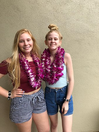 Pic of finished leis on the lanai