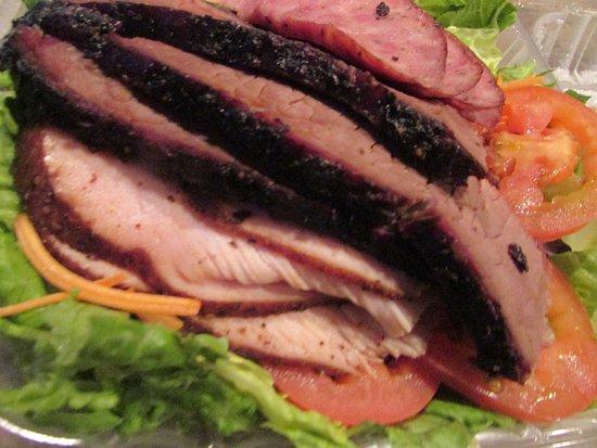 The Brisket House Salad ... 3-Meats - Brisket, Sausage, Turkey