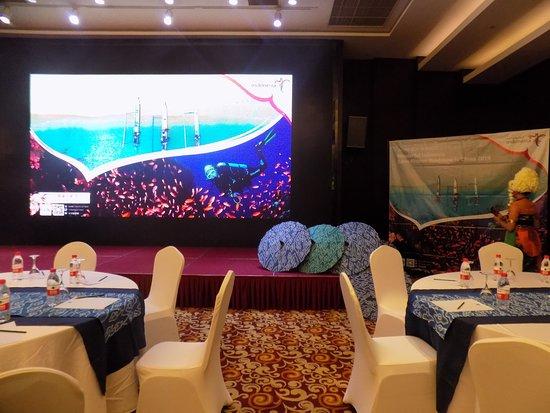 Wushan Pleasure Hotel: giant LED screen in the ballroom