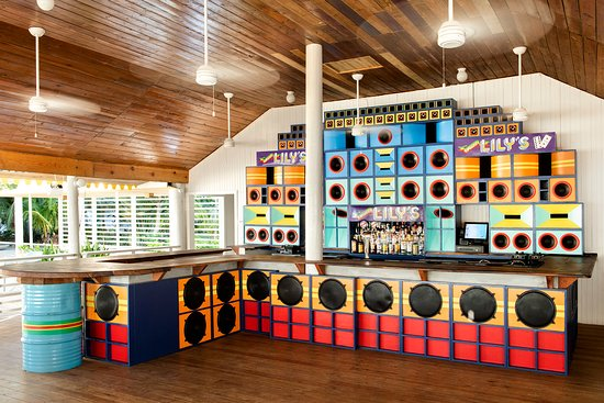 Bar area and speaker wall