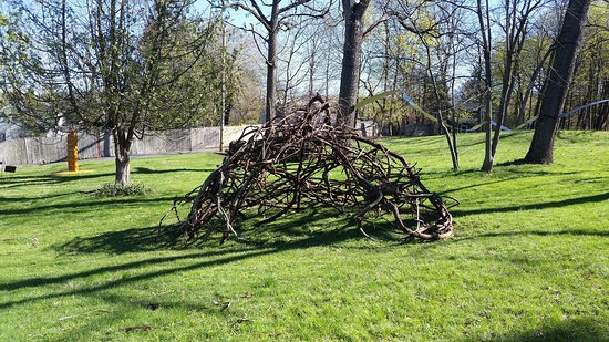 RoCA Nest 2019 by Cristina Biaggi.  Part of the Natural Progressions Exhibit in The Catherine Konner Sculpture Park April 2019 through April 30, 2020.  Built from vines on the RoCA property.  Based on avian architecture, it presents concepts of interconnection and similarity between the architectural feats of birds and that of some types of human housing found in tropical rainforests.