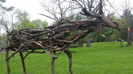 Rockland Moose by Alberto Bursztyn.  Part of the Natural Progressions Exhibit in The Catherine Konner Sculpture Park April 2019 through April 30, 2020.  Built from fallen trees on the RoCA property.  Celebrating the Rockland Moose that use to inhabit the areas ages ago.