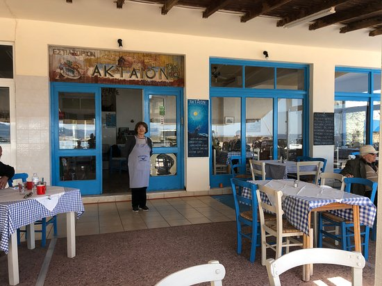 Aktaion Restaurant: The front of the restaurant with the lady that cooks the most delicious meals