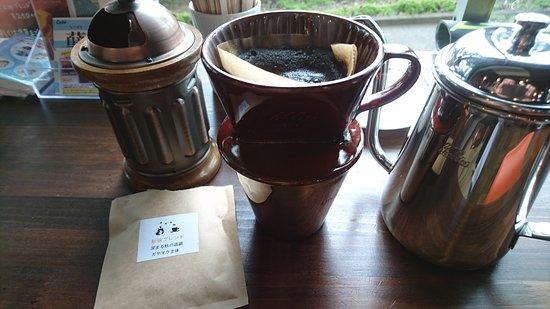 立川市, 東京都, サイクルカフェにて 手挽きセルフドリップコーヒーです