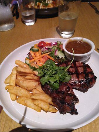 Tender sirloin steak with chips, salad and peppercorn sauce (choose a sauce)