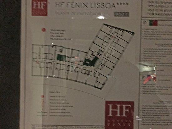 """HF Fenix Lisboa: Piantina delle camere di un piano. sono segnate alcune delle camere piccole che, come si vede, sono la metà o meno delle camere """"normali"""""""