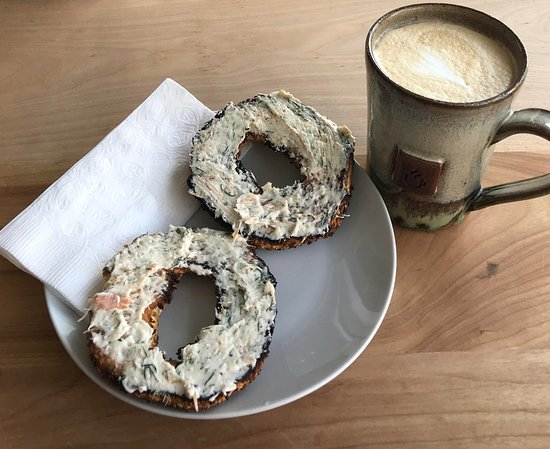 Stan Rogers smoked salmon bagel and latte