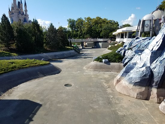 From 1973 until 1983, the Swan Boats sailed these now-drained waters around Cinderella's Castle
