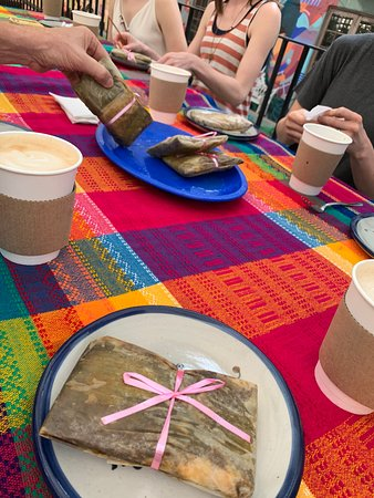 Greeted with coffee and specialty home-made tamales