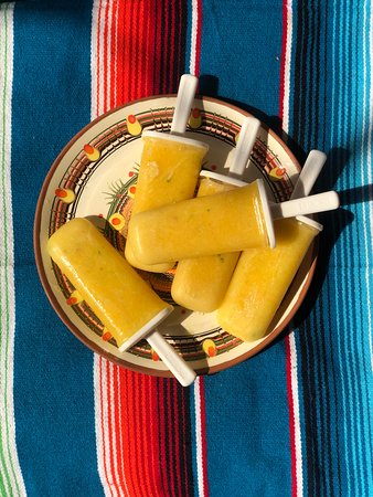 Pineapple popsicles with jalapeño