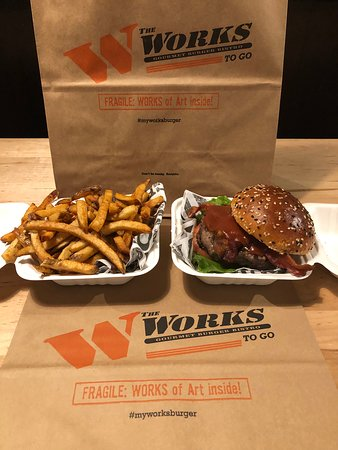 The WORKS does take out and delivery through SKIP the Dishes!
