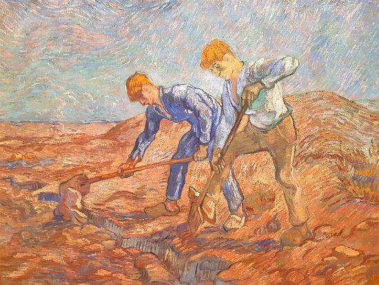 Vincent Van Gogh - Two Peasants Digging, 1889