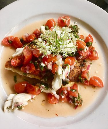 Fresh Gulf Red Snapper with jumbo lump crab meat and salsa fresca