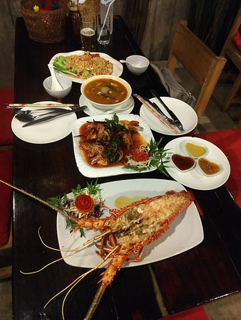 Lobster dinner with prawns and Tom Yum