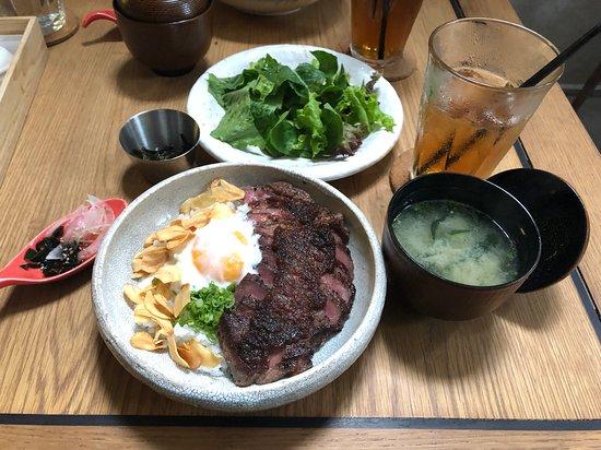 Beef steak donburi