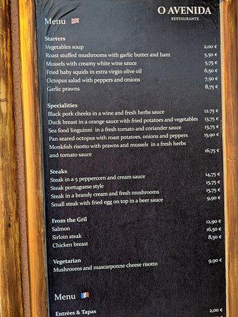 The menu at O Avenida, Loule, southern Portugal