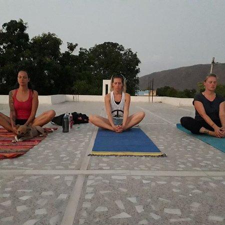 Rooftop yoga class