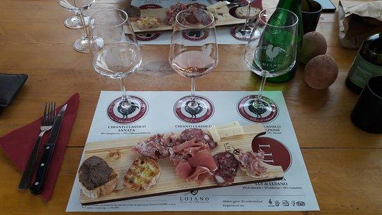 Fattoria di Luiano: prima parte del taglier e degustazione vini