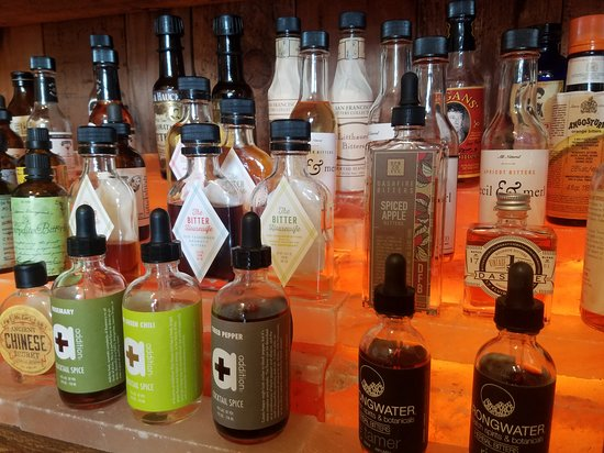 The Vibrant Kerns Hood - East Burnside and more: These are just bitters for old fashioneds, manhattans, etc. We couldn't believe the variety of inventive foods and drinks on our tour!