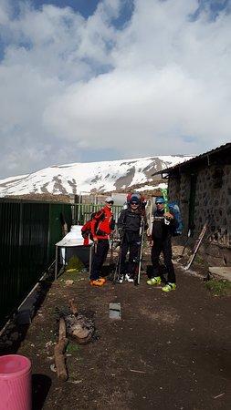 Amol, Iran: mount damavand base camp Skiing Turing from Hungary