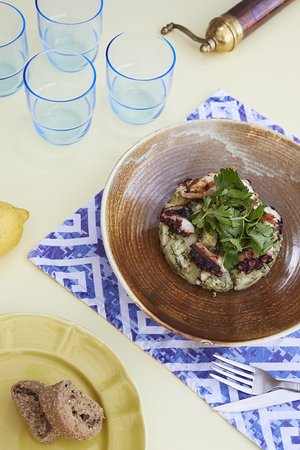grilled octopus with potato salad