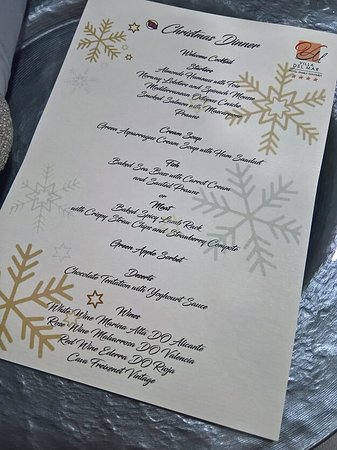 The Christmas menu - normally, it is a buffet service, but for Christmas, they do a gala meal.