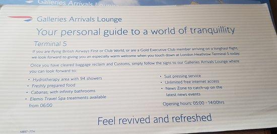 British Airways: BA arrival lounge - Heathrow Terminal 5.