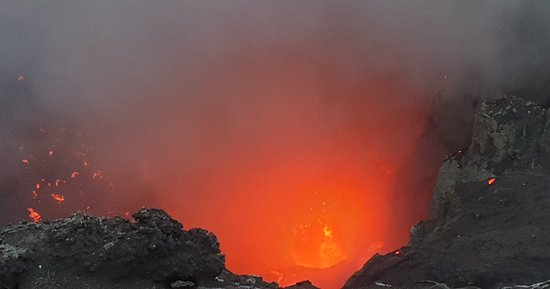 Magma in the main crater